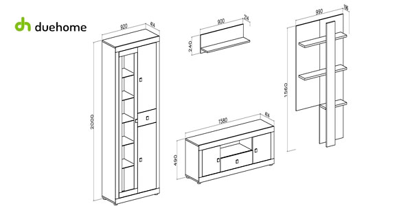 Mueble modular con luz LED para salón-comedor Julieta de Duehome chollo en eBay