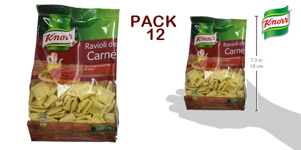 Pack de12 envases de Ravioli rellenos de Carne Knorr chollo en Amazon