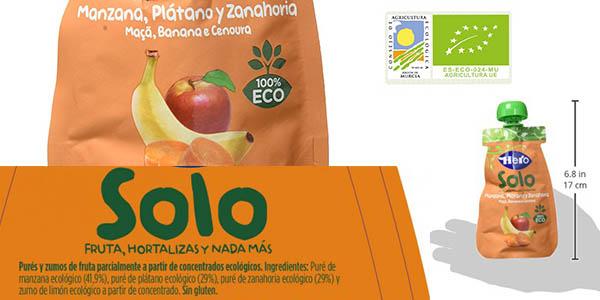 pack 18 botellas de Hero Solo Baby manzana plátano y zanahoria ECO en formato ahorro