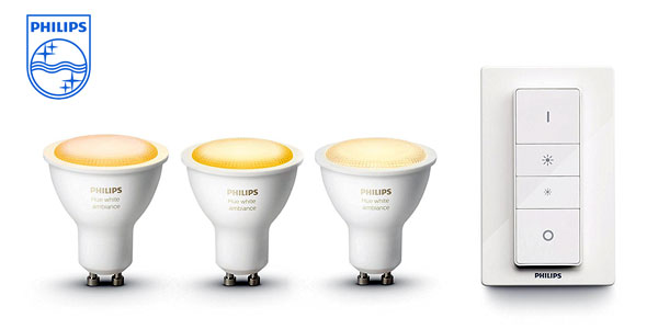 Pack de 3 bombillas Philips Hue White Ambiance LED GU10 con interruptor inalámbrico barato en Amazon