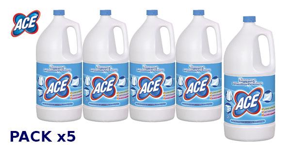 Pack 5 botellas de lejía ACE de 2 litros barato en Amazon