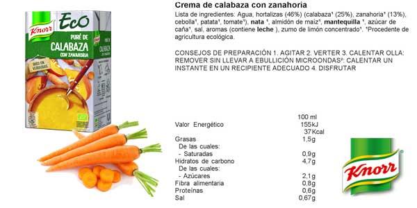 Pack 8 Paquetes Purés Knorr Eco de calabaza con zanahoria chollo en Amazon