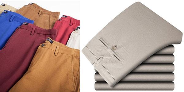 Pantalones chinos Harrms de algodón en varios colores para hombre baratos