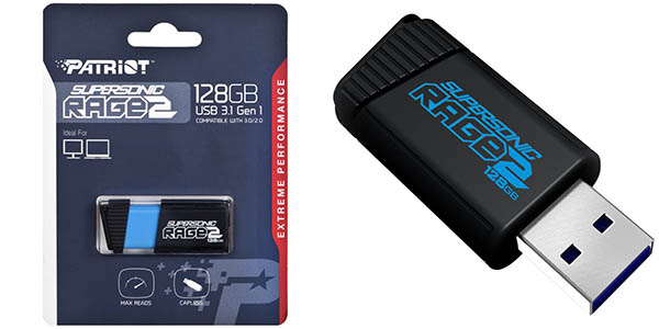 Pendrive Patriot Memory Supersonic Rage 2 USB 3.0 de 128 GB