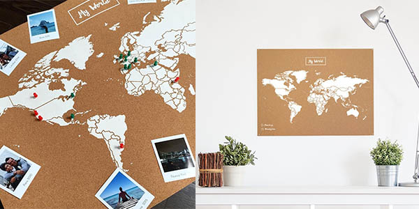 regalo original viajeros mapamundi de corcho Miss Woods chollo
