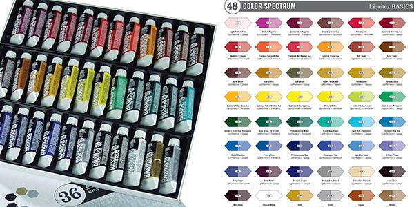 set de 36 tubos de pintura acrílica Liquitex Basics con genial relación calidad-precio