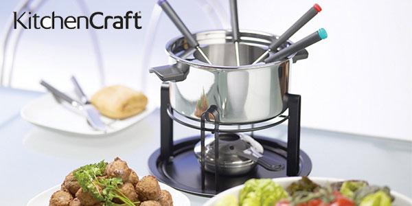 Set Multi Fondue Deluxe en acero y cerámica Kitchen Craft con 6 pinchos chollo en Amazon
