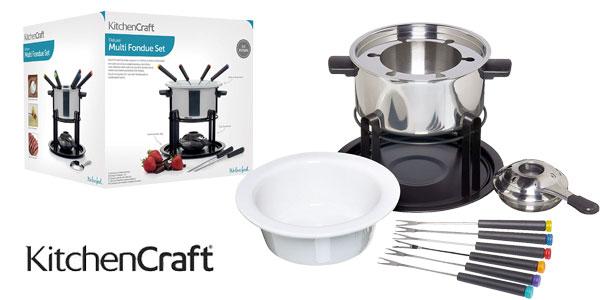Set Multi Fondue Deluxe en acero y cerámica Kitchen Craft con 6 pinchos barato en Amazon