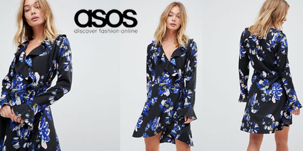 Vestido cruzado Liquorish con estampado floral y ribete de volante chollo chollo en Asos