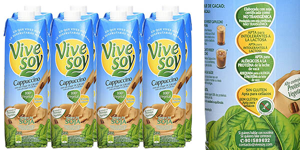 Vivesoy Cappuccino bebida de soja pack de 8 botellas de 1 litro barato
