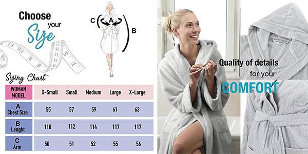 albornoz para mujer en algodón 100% de gran calidad y precio genial