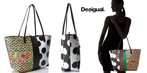 Bolso shopper reversible 3-en-1 Desigual Lola Patch para mujer oferta en Amazon