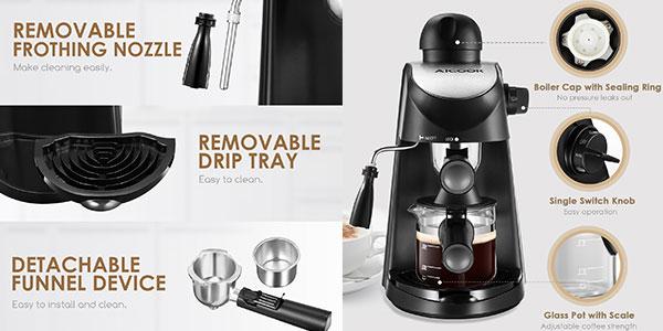 Cafetera de hidropresión Aicook de 800W y 3,5 bares con vaporizador para espresso y cappuccino barata