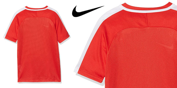 Camiseta técnica Nike NK Dry Acdmy SS de manga corta en color rojo para niños chollo en Amazon