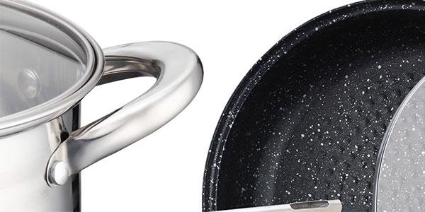 Chollo Batería de cocina Royalty Line RL-1232M con una sartén de piedra y tapas de cristal