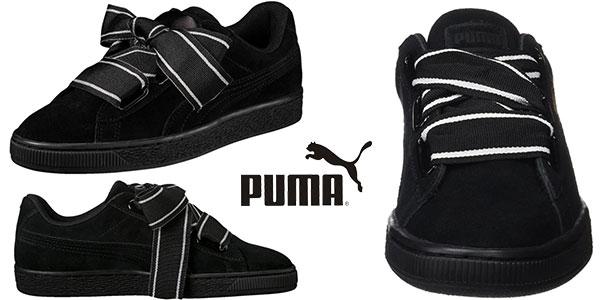 Chollo Zapatillas de estilo casual Puma Suede Heart Satin II de color negro para mujer