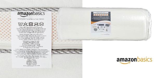 Colchón extra confort AmazonBasics de espuma viscoelástica de 7 zonas, 140 x 200 cm chollazo en Amazon
