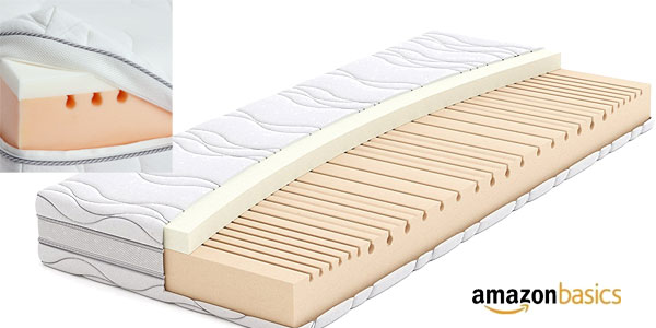 Colchón extra confort AmazonBasics de espuma viscoelástica de 7 zonas, 140 x 200 cm chollo en Amazon