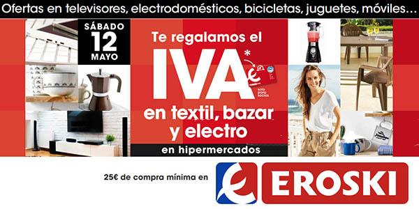 Eroski supermercados Día sin IVA 12 de mayo 2018