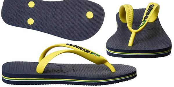 flip flop Havaianas negro con tira amarilla en oferta