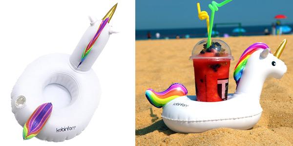 Pack 3 posavasos flotadores de Unicornio Kebinfen inflable con hinchador chollazo en Amazon