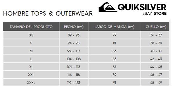 Guía de Tallas Camiseta manga larga Quiksilver™ After Surf para hombre chollazo en eBay