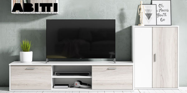 Mueble de salón comedor Abitti de 4 módulos en color blanco y shamal chollo en eBay