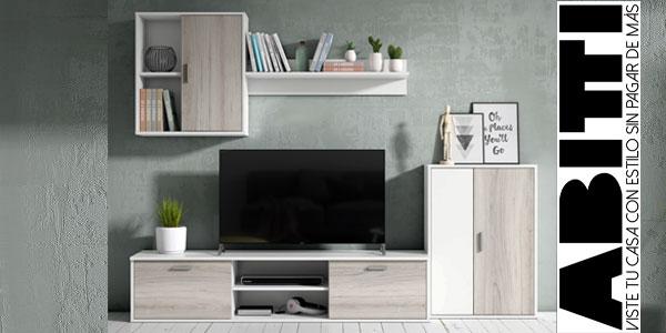 Mueble de salón comedor Abitti de 4 módulos en color blanco y shamal barato en eBay