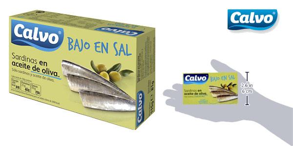 Pack de 10 latas de sardinas en aceite de oliva Calvo bajas en sal 120gr chollo en Amazon