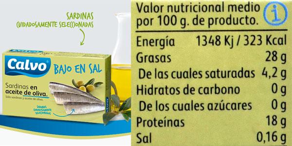 Pack de 10 latas de sardinas en aceite de oliva Calvo bajas en sal 120gr chollazo en Amazon