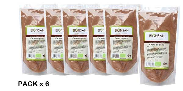Pack de 6 Paquetes de cacao en polvo Bionsan de 250 gr barato en Amazon