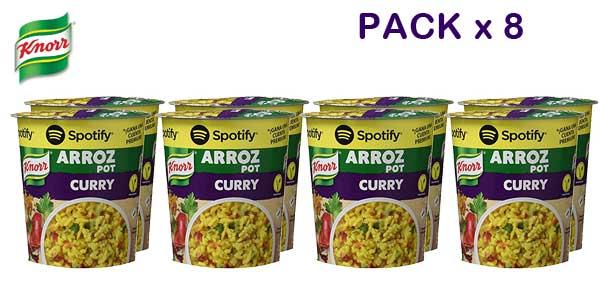 Pack de 8 envases Knorr Pot Arroz al Curry barato en Amazon