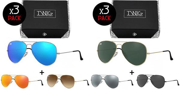 Pack 3 Gafas de sol unisex Aviador de Twig Concept Milano chollazo en eBay