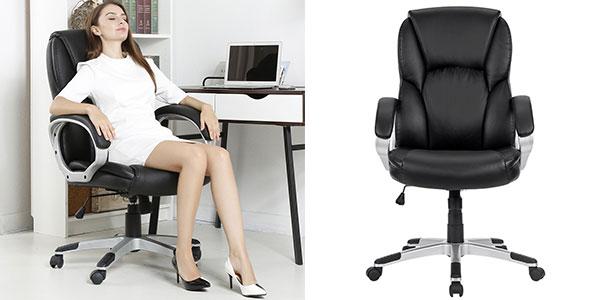 Silla giratoria ejecutiva Langria para mesa de ordenador o despacho de color negro barata