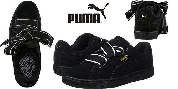 Zapatillas de estilo casual Puma Suede Heart Satin II de color negro para mujer baratas