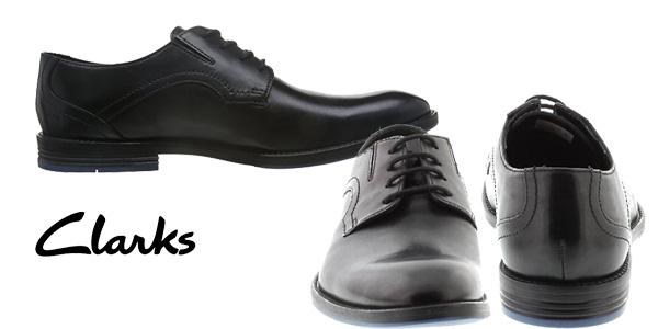 Zapatos de vestir Clarks Prangley Walk de cuero negro para hombre chollo en Amazon