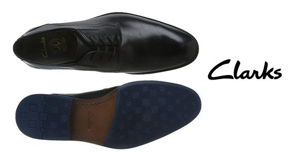 Zapatos de vestir Clarks Prangley Walk de cuero negro para hombre chollazo en Amazon