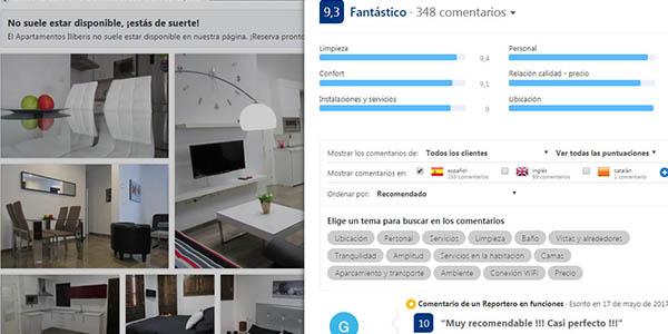 Booking comentarios y valoración de clientes en sus alojamientos