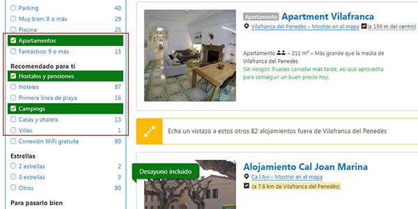 Booking filtros para seleccionar el alojamiento que estás buscando