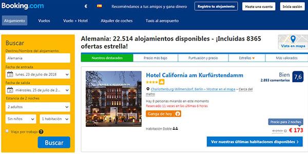 buscar alojamiento por zona o país del mundo en Booking