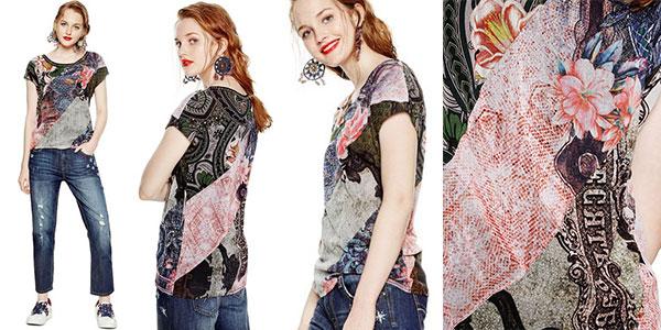 Camiseta Desigual Denes de manga corta con estampado étnico para mujer en oferta