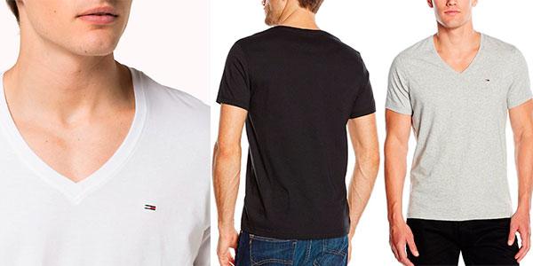 Chollo Camiseta Tommy Hilfiger Original V-Neck de manga corta y cuello de pico para hombre