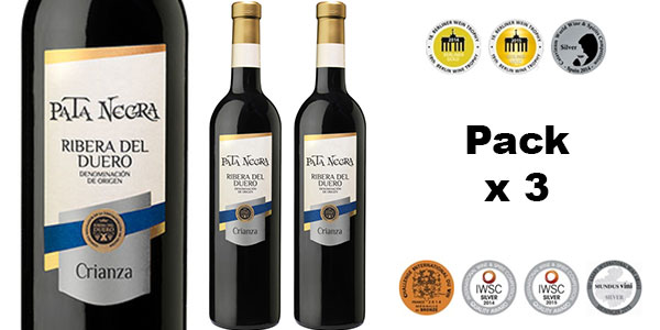 Chollo Pack de 3 botellas de vino tinto Pata Negra Crianza (D.O. Ribera del Duero)