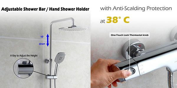 columma de ducha con grifo termostático y genial relación calidad-precio