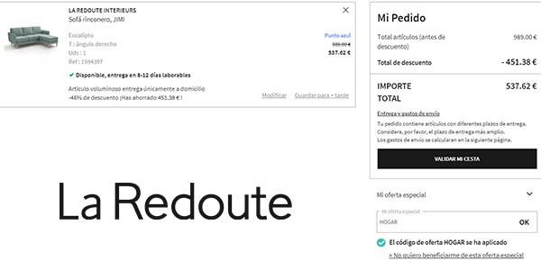 cupón descuento HOGAR en La Redoute febrero 2020