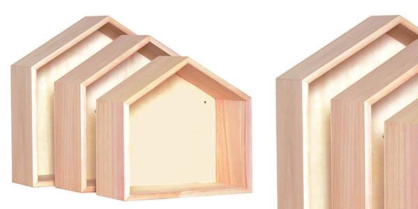 estantes Artemio en madera con diseño de casita baratos