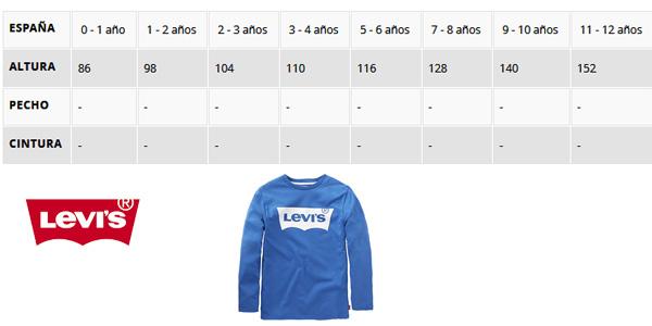 Guía de Tallas Camiseta Levi's N91005H en color azul en tallas infantiles chollo en Amazon