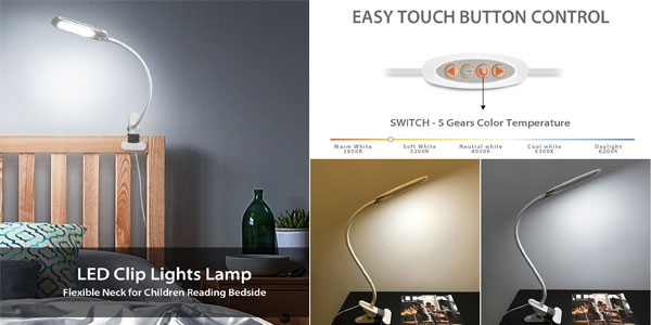 Lámpara flexo LED de pinza LVWIT chollazo en Amazon