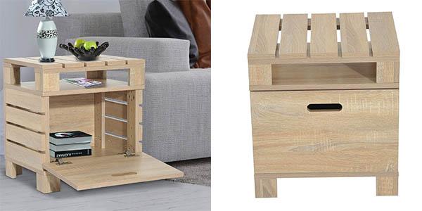 mesa auxiliar Homcom de diseño palé barata