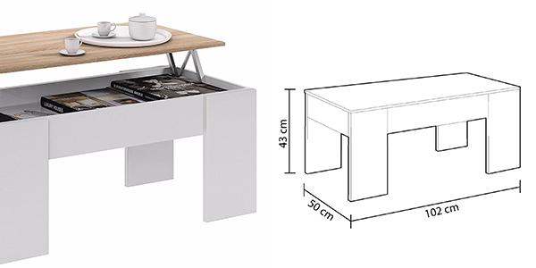 mesa de centro auxiliar y funcional de diseño sencillo a precio de chollo